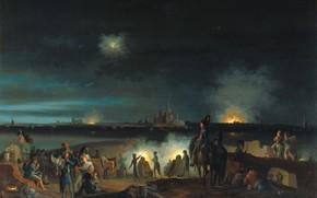 Картинка масло, картина, 1800, Joseph August Knip, Обстрел Хертогенбоса французами во время осады 179, Джозеф Огаст …