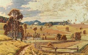 Картинка Осенний пейзаж, Autumn landscape, Austrian painter, австрийский живописец, oil on canvas, Josef Stoitzner, Йозеф Стойцнер