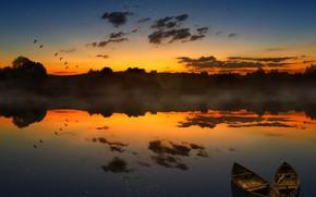 Картинка Закат, Солнце, Небо, Вода, Облака, Отражение, Восход, Туман, Горизонт, Лодка, Птицы, Рассвет, Лодки, Тишина, Пейзаж, …
