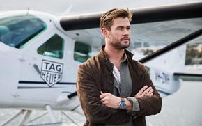 Картинка взгляд, поза, часы, актер, Крис Хемсворт, Chris Hemsworth, TAG Heuer