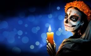 Картинка Цветы, Девушка, Стиль, Фон, Calavera, Mexico, Свечка, Día de los Muertos, Dia de los Muertos, …