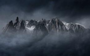 Картинка горы, туман, вершина