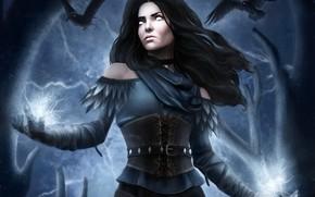 Картинка девушка, магия, girl, magic, ворон, чародейка, йеннифер, Йеннифэр из Венгерберга, Yennifer