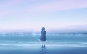 Картинка море, небо, девушка
