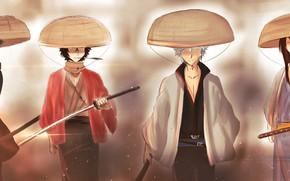 Картинка парень, парни, шляпы, самураи, Gintama, Гинтама