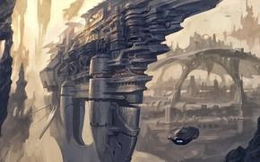 Картинка city, fantasy, science fiction, rocks, spaceship, sci-fi, artwork, fantasy art, futuristic, futuristic city, Aircraft