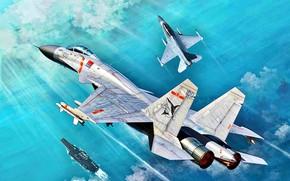 Картинка Китай, авианосец, F-16, палубный истребитель, Shenyang, J-15