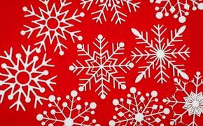 Картинка зима, снежинки, красный, фон, red, Christmas, winter, background, snowflakes