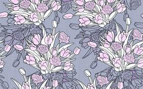 Картинка цветы, фон, розы, design, art, background, pattern, букеты, floral