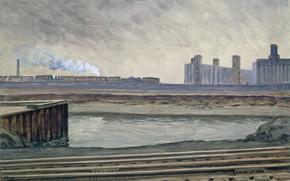 Картинка Charles Ephraim Burchfield, 1935-42, Train along the Canal
