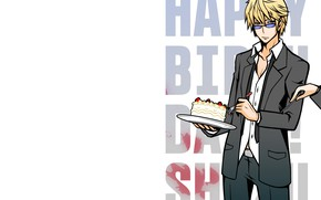 Картинка буквы, торт, парень, слова, Durarara, Heiwajima Shizuo, Дюрарара, Шизуо Хейваджима