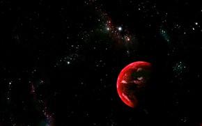 Картинка космос, тьма, простанство, красная планета