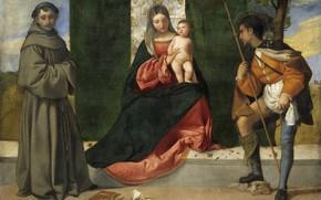Картинка Titian Vecellio, ок.1510, Мадонна с младенцем, между св.Антонием Падуанским и св.Рохом