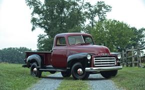 Картинка 150, пикап, GMC, 1949, у забора, Pickup Truck, GMC 150