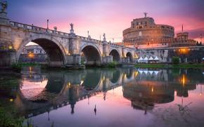 Картинка закат, мост, строение