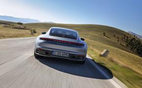 Картинка дорога, купе, скорость, 911, Porsche, вид сзади, Carrera 4S, 992, 2019