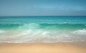 Картинка песок, небо, вода, океан, берег, волна, горизонт