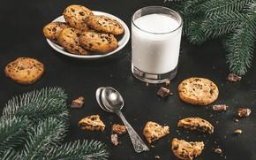 Картинка ветки, елка, молоко, печенье, выпечка, ложки