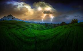 Картинка облака, тучи, молния, Природа, Индонезия
