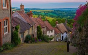 Картинка пейзаж, город, улица, Англия, дома, Шафтесбери