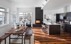 Картинка интерьер, столовая, гостиная, камин, кухня