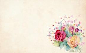 Картинка цветы, холст, открытка, шаблон, заготовка