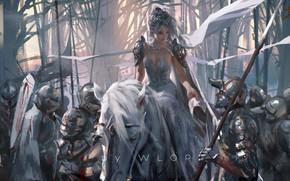 Картинка blood, fantasy, forest, soldiers, trees, army, animal, horse, weapons, elf, digital art, artwork, princess, swords, …