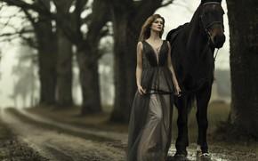 Картинка взгляд, девушка, природа, фото, модель, лошадь, Janis Balcuns