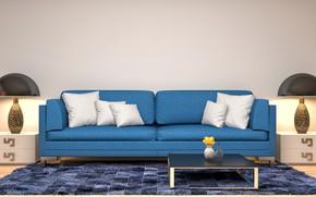 Картинка дизайн, диван, интерьер, подушки, модерн