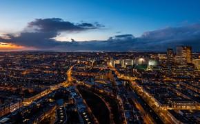 Картинка city, lights, Holland, night, Гаага, Hague, Nethetlands