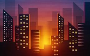 Картинка Закат, Минимализм, Город, Стиль, Фон, Архитектура, Арт, Art, 80s, Style, Background, Illustration, Minimalism, 80's, Synth, …