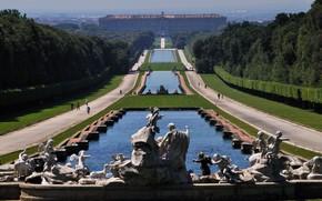 Картинка парк, Италия, каскад, фонтаны, Королевский Дворец, Казерта