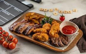 Картинка тарелка, мясо, соус, сервировка, жареное мясо