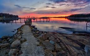 Картинка закат, озеро, вечер, Норвегия