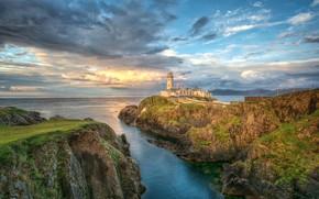 Картинка море, небо, скалы, побережье, маяк, Ирландия, Fanad Lighthouse