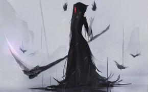 Картинка девушка, смерть, коса, Aoi Ogata