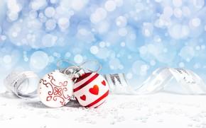 Картинка фон, праздник, шары, новый год, лента
