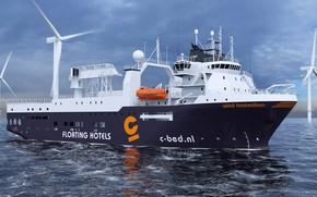 Картинка Море, Судно, Рендеринг, Vessel, Offshore, Offshore Supply Ship, Supply Ship, M/S Wind Innovation, Accommodation Vessel, …