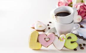Картинка цветы, печенье, чашка