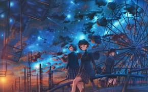Картинка небо, солнце, закат, ночь, парк, девушки, колесо обозрения