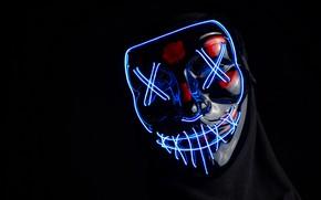 Картинка свет, неон, маска, black, чёрный фон, neon