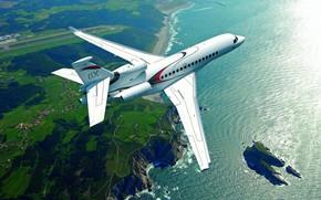 Картинка Скала, Dassault Falcon 8X, Бизнес-джет, Falcon 8X, Остров, ВПП, Море, Dassault Aviation, Самолет