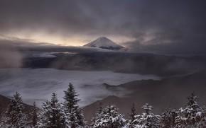 Картинка зима, небо, снег, пейзаж, горы, туман, пасмурно, холмы, гора, вулкан, Япония, ели, Фудзи, сумерки, Фудзияма, …