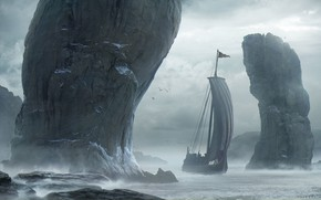 Картинка Горы, Скалы, Корабль, Тучи, Паруса, Landscape, Water, Skyrim, Sea, Rocks, Vikings, Парусное Судно, Drakkar, Драккар, …