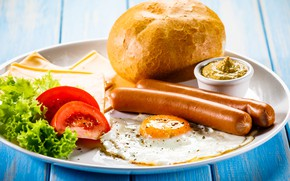 Картинка сосиски, завтрак, сыр, хлеб, помидоры, горчица