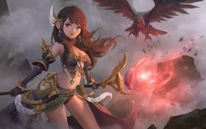 Картинка аниме, фэнтези, арт, маг, посох, choi keun hoon, Lineage Red Knights