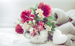 Картинка цветы, ваза, пионы, декор