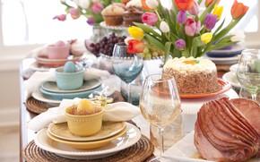 Картинка bread, plates, decoration, egg, utensils, napkins