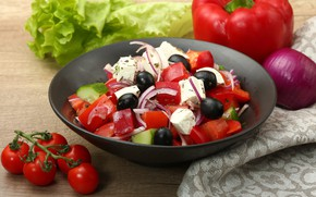 Картинка лук, перец, помидоры, салат, маслины, греческий, фета