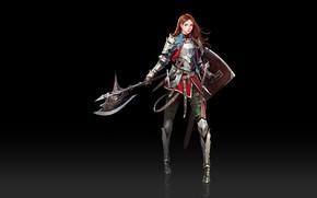 Картинка Girl, Fantasy, Art, Style, Minimalism, Characters, Shield, Armor, Ha Donghyun